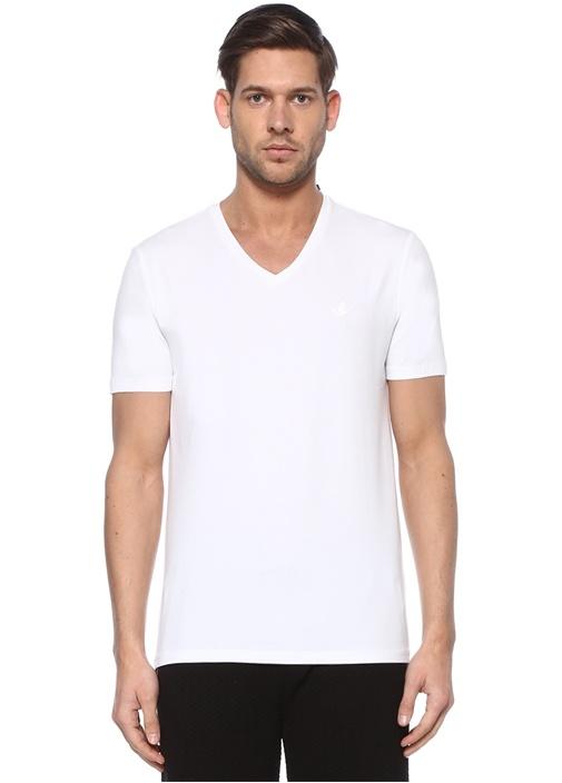 Beyaz V Yaka Kuş Logolu Basic T-shirt