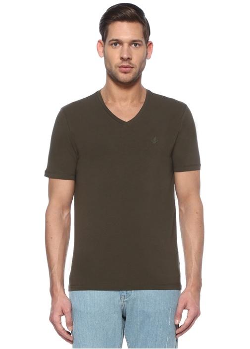 Haki V Yaka Kuş Logolu Basic T-shirt