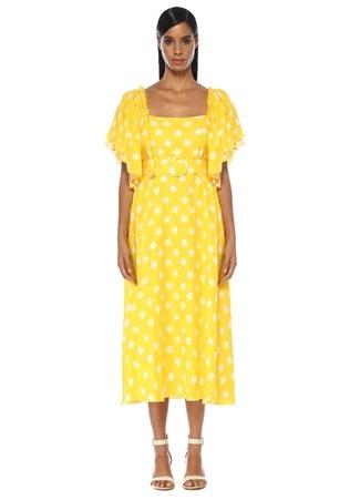 25c1fa0a27181 Sarı Kare Yaka Çiçekli Kemerli Midi Keten Elbise