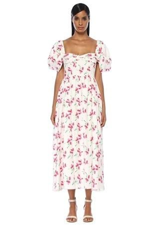 4631373d2e502 Beyaz Kalp Yaka Çiçekli Büzgülü Midi Keten Elbise