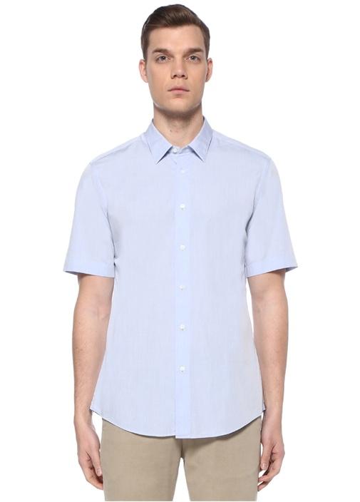 Mavi Polo Yaka Kısa Kollu Gömlek