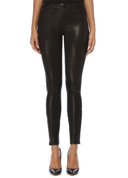 Siyah Paçası Fermuarlı Skinny Deri Pantolon
