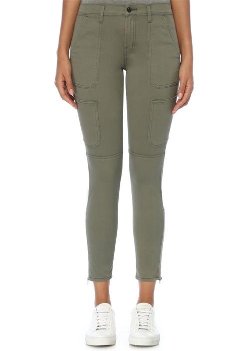 Utility Haki Paçası Fermuarlı Skinny Jean Pantolon