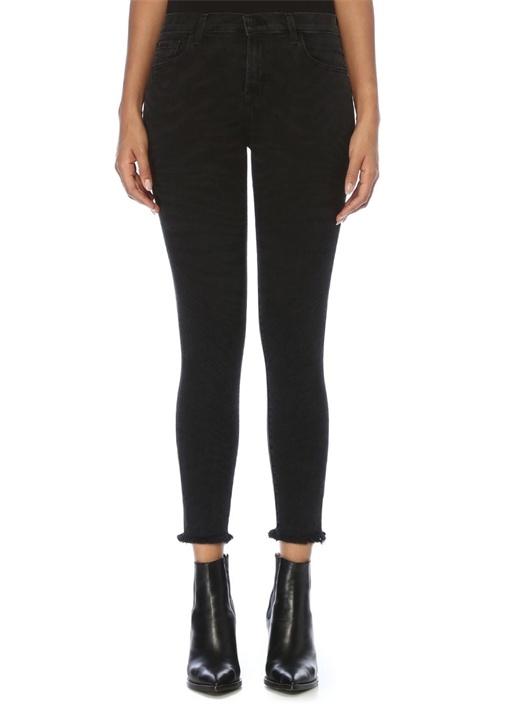 835 Siyah Püsküllü Crop Skinny Jean Pantolon