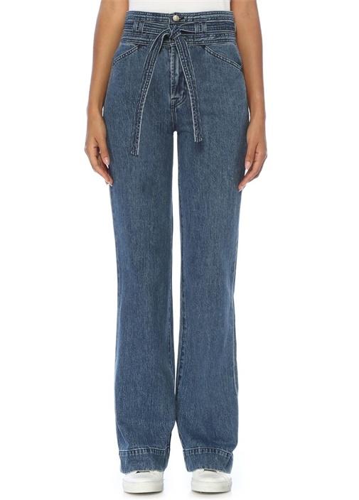 Sukey Beli Kuşaklı Wide Straight Jean Pantolon