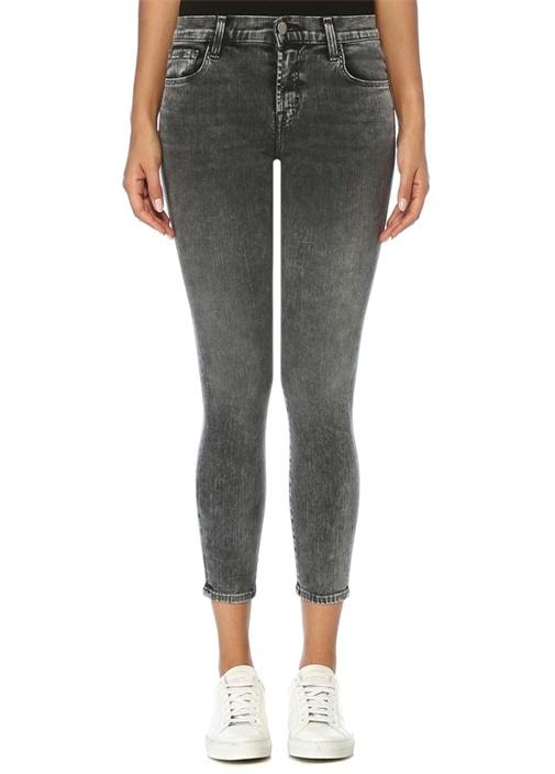 835 Gri Normal Bel Crop Skinny Jean Pantolon
