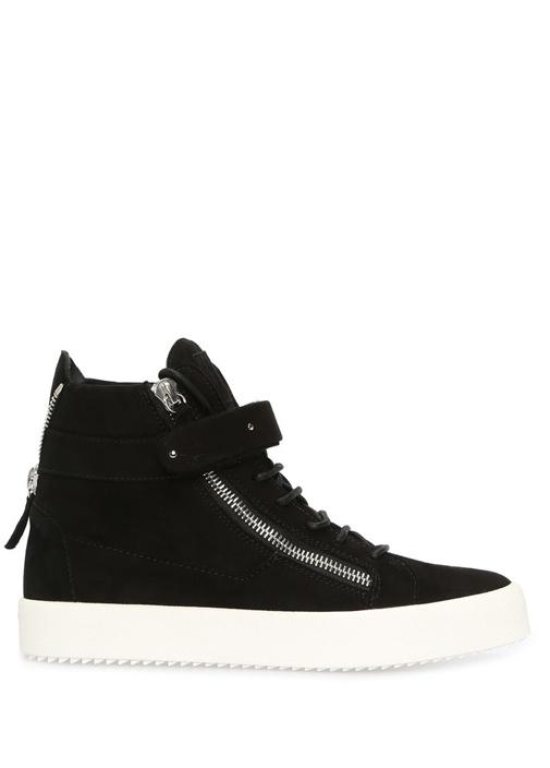 Camoscio Siyah Logolu Erkek Süet Sneaker
