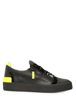 Giuseppe Zanotti Erkek Frankie Siyah Neon Renk Detaylı Kadın Deri Sneaker 40 EU