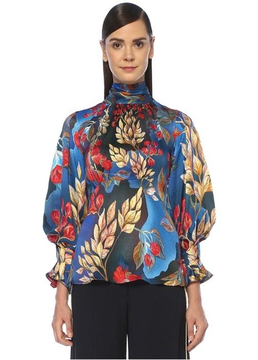 Lacivert Çiçek Desenli Yakası Bağlamalıİpek Bluz