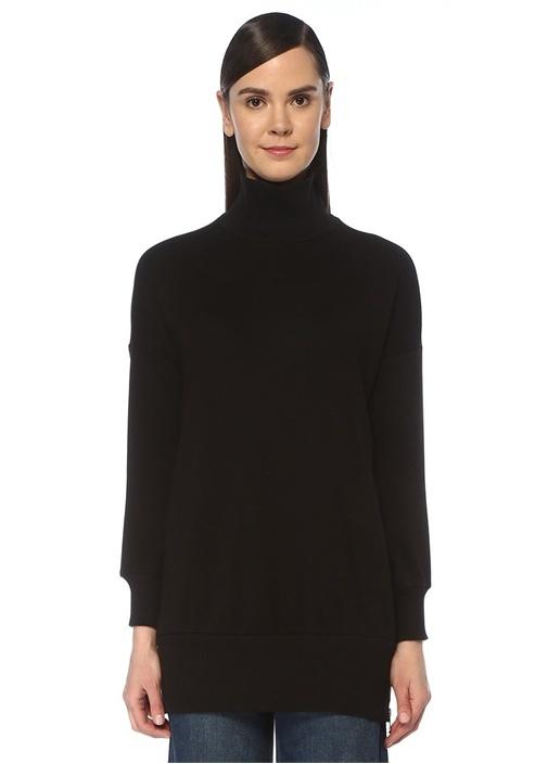 Siyah Yanları Fermuar Detaylı Sweatshirt