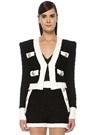 Siyah Beyaz V Yaka Gold Düğmeli Crop Tweed Ceket