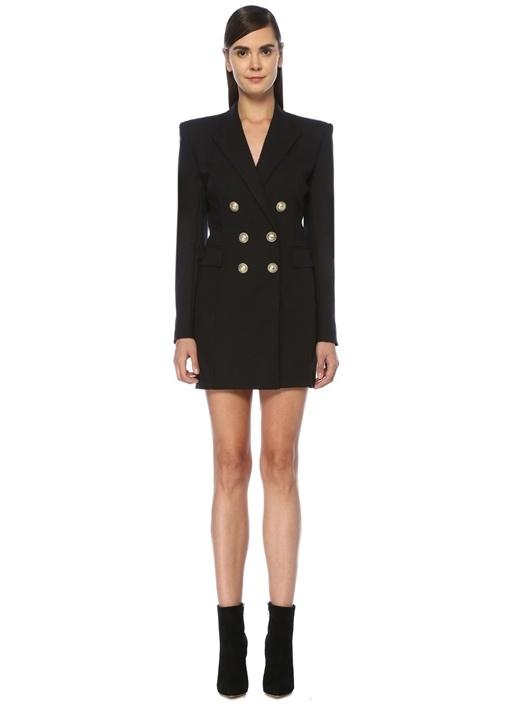 Siyah Ceket Formlu Mini Kruvaze Yün Elbise