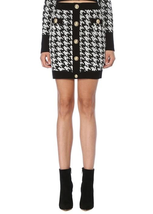 Siyah Beyaz Kazayağı Desenli Mini TweedEtek