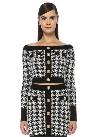 Siyah Omzu Açık Kazayağı Desenli Crop Tweed Bluz