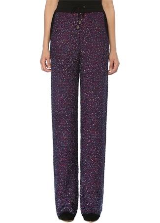 Balmain Kadın Mor Yüksek Bel İşlemeli Boru Paça Triko Pantolon Pembe 38 FR female