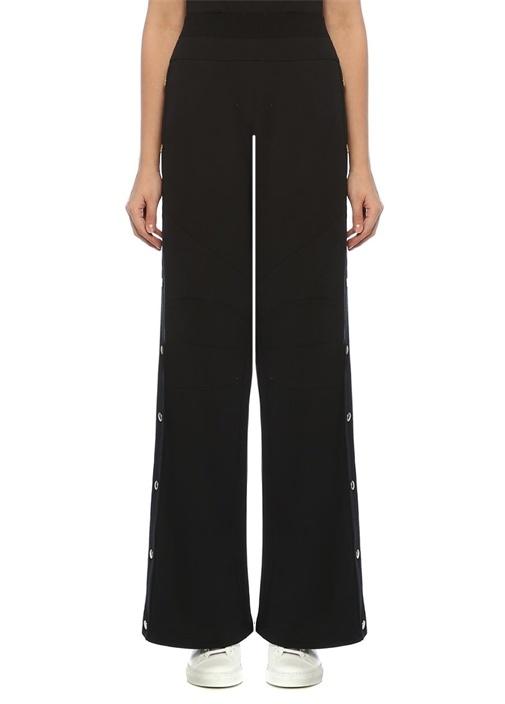 Siyah Yanı Gold Düğmeli Bol Paça Pantolon