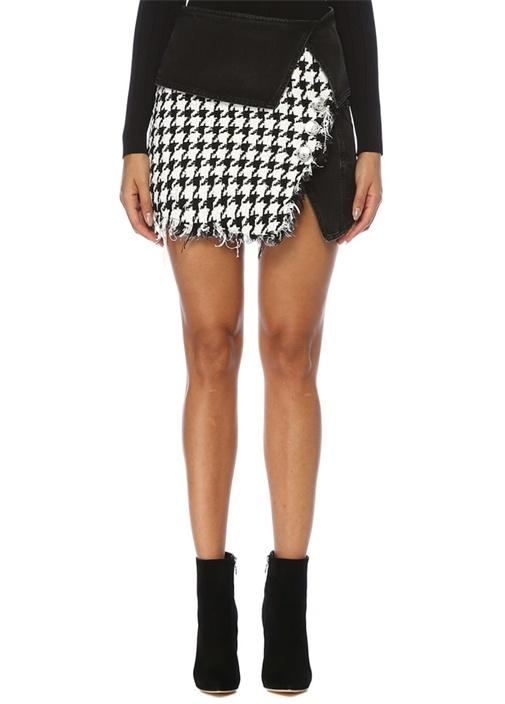 Kazayağı Desenli Denim Garnili Mini Tweed Etek
