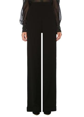 Balmain Kadın Siyah Yüksek Bel Bol Paça Krep Pantolon 40 FR female
