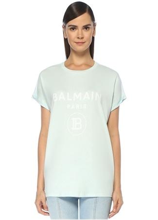 Balmain Kadın Mavi Beyaz Logo Baskılı T-shirt EU female