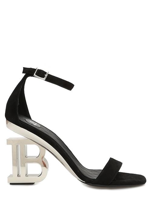 Siyah Logo Topuklu Kadın Süet Sandalet