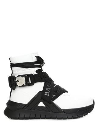 Balmain Kadın Beyaz Siyah Çapraz Logo Kemerli Deri Sneaker 37 EU female