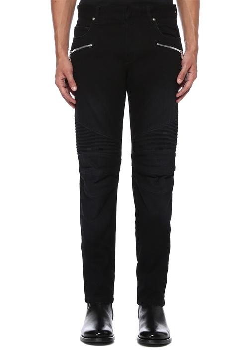 Tapered Siyah Drapeli Jean Pantolon