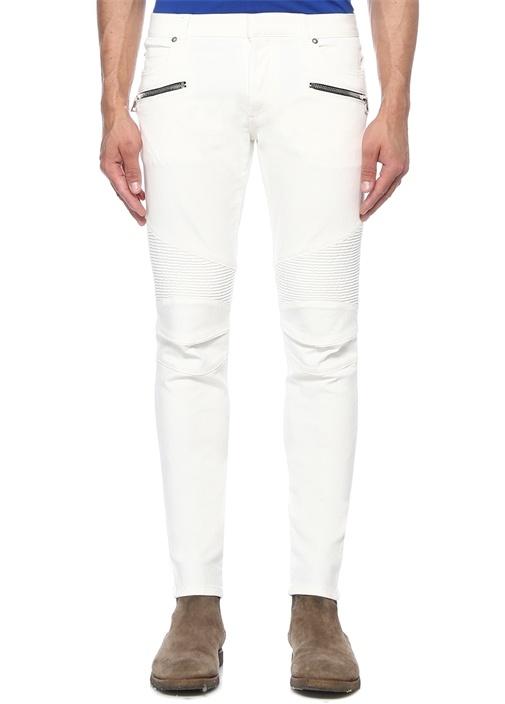 Slim Fit Beyaz Normal Bel Nervürlü JeanPantolon
