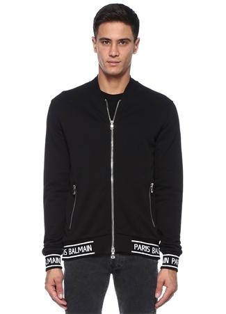 fb16f3441deed Siyah Dik Yaka Şerit Logo Jakarlı Sweatshirt