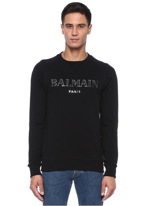 Siyah Metalik Silver Logolu Sweatshirt