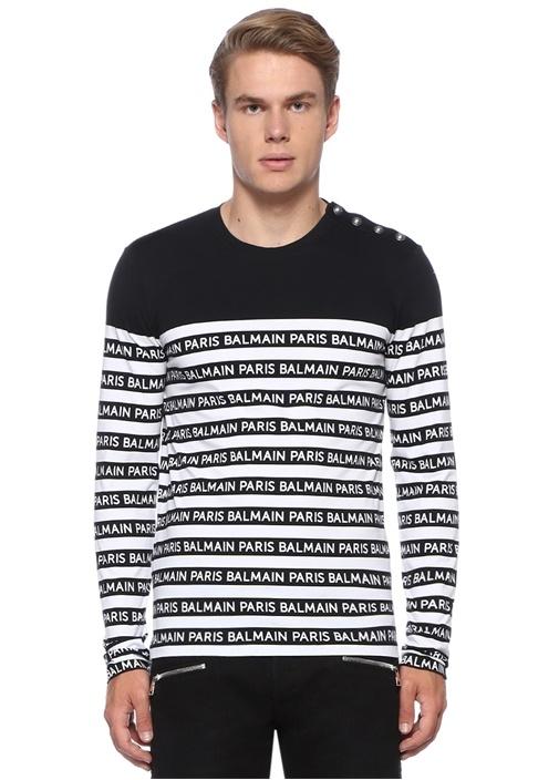 Siyah Beyaz Düğme Detaylı Logolu Sweatshirt