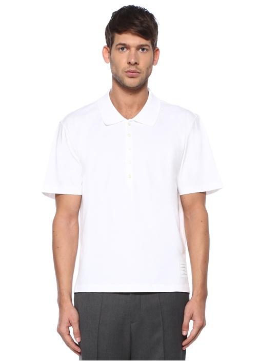 Relaxed Fit Beyaz Polo Yaka Jersey T-shirt