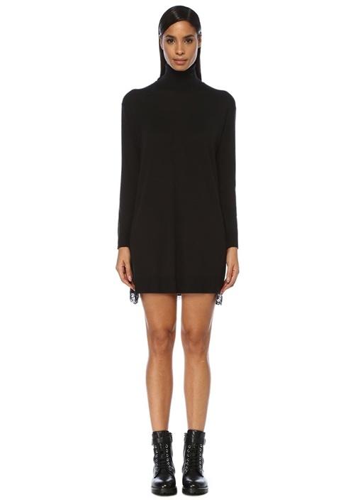 Siyah Balıkçı Yaka Ucu Dantelli Mini Triko Elbise