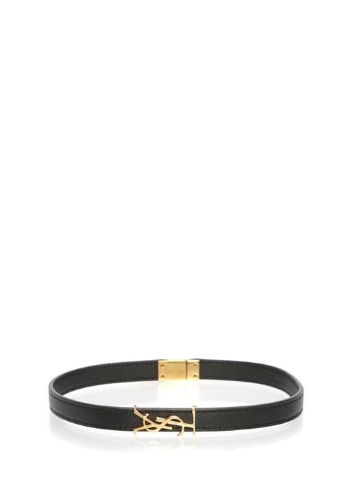 Siyah Gold Logolu Kadın Deri Bilezik