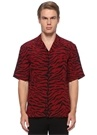 Kırmızı Siyah Kamp Yaka Zebra Desenli İpek Gömlek