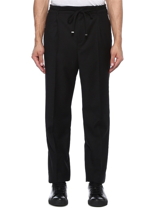 Siyah Beli Kordonlu Bol Paça Yün Pantolon