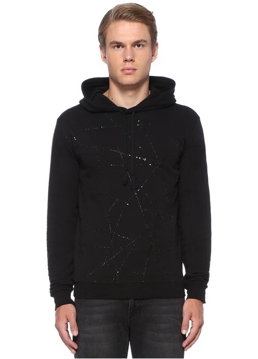 Siyah Kapüşonlu Metalik İşlemeli Sweatshirt