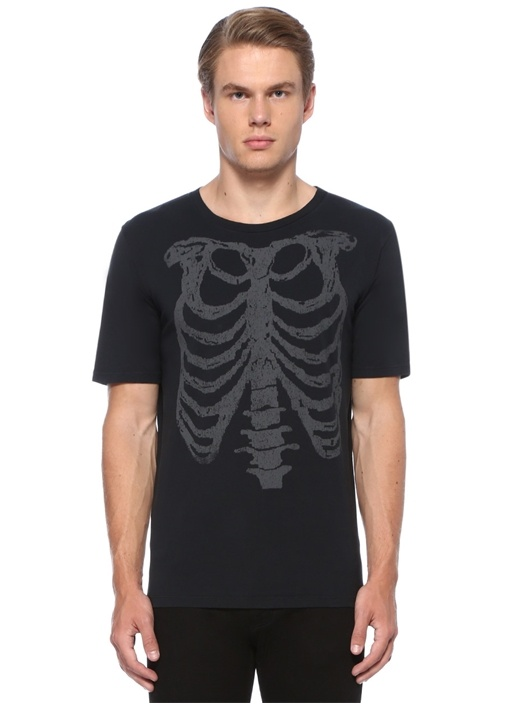 Antrasit İskelet Baskılı Basic T-shirt