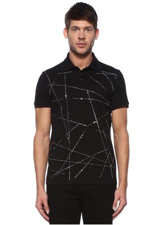Saint Laurent Erkek Siyah Polo Yaka Simli Şerit Baskılı T-shirt EU male