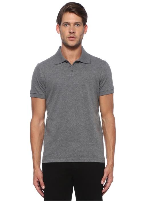 Gri Polo Yaka Logo Nakışlı T-shirt