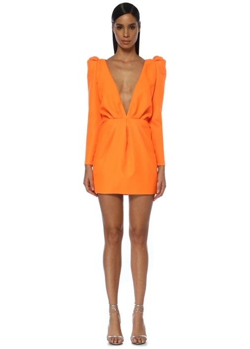 Neon Turuncu Derin V Yaka Mini Kokteyl Elbise