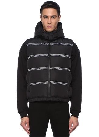 Versace Erkek Siyah Kapüşonlu Şerit Logolu Puff Yelek 48 IT male