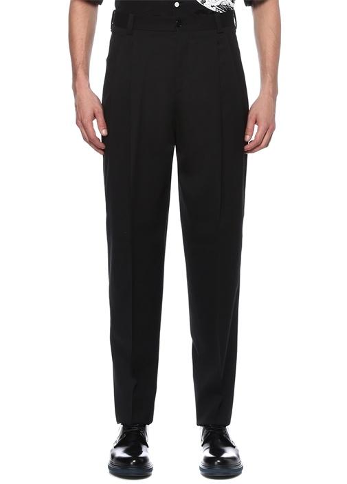Siyah Normal Bel Dar Paça Pilili Yün Pantolon
