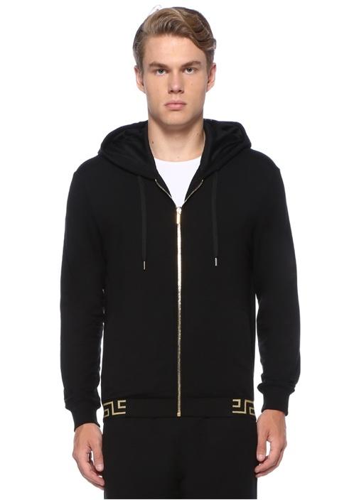 Siyah Kapüşonlu Şerit Gold Jakarlı Sweatshirt