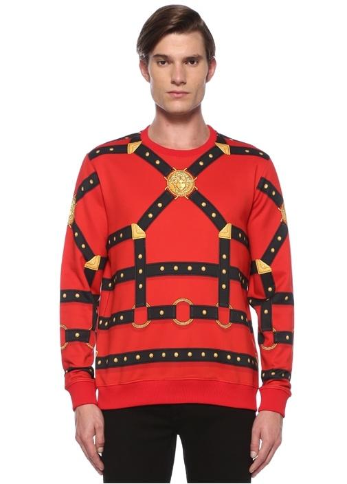 Kırmızı Siyah Kemer Baskılı Sweatshirt