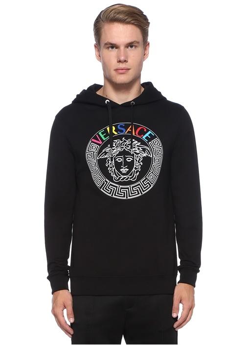 Siyah Kapüşonlu Medusa Baskılı Logolu Sweatshirt
