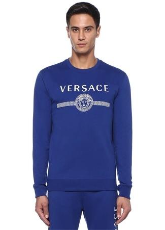Medusa Mavi Logo Baskılı Sweatshirt