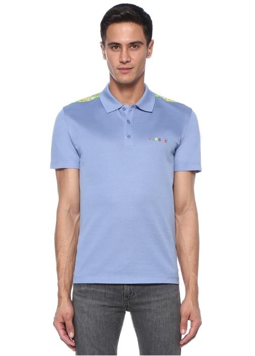 Mavi Barok Desen Garnili Polo Yaka T-shirt