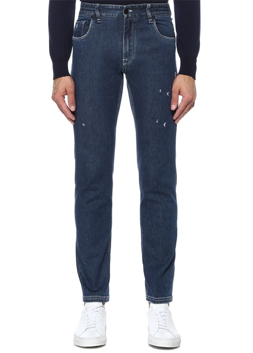 Slim Fit Lacivert Logolu Yıpratmalı Jean Pantolon