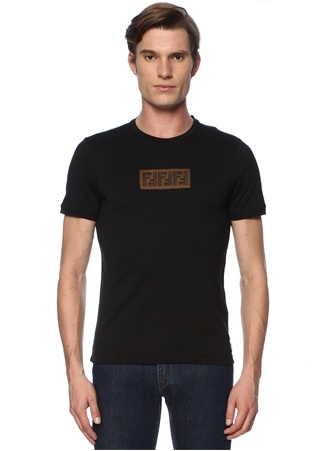 Siyah Bisiklet Yaka Logo Patchli T-shirt