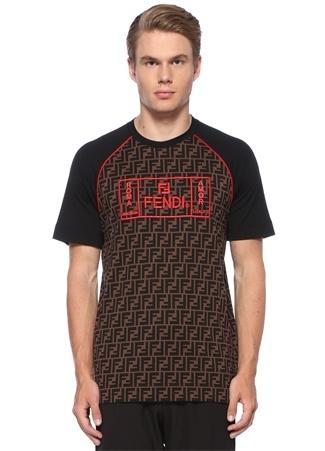 Fendi Erkek Siyah Kahverengi Logo Baskılı Reglan Kollu T-shirt EU male